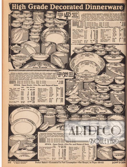 """""""Hochwertige dekorierte Geschirrservice"""" (engl. """"High Grade Decorated Dinnerware""""). Drei leicht unterschiedliche 26-teilige Porzellanservice (für sechs Personen) für das Esszimmer mit bemalten und dekorierten Rändern mit Blüten und Zweigdekor (hier """"three-medallion pattern""""). Die Service können auch aus 48, 52 oder auch 100 Teilen bestehen. Zum Porzellangeschirr gehören Kaffee- und Teetassen, Untertassen, Kuchenteller, Butterschalen, Schälchen für Nachtische, Fruchtschalen, Suppenschüsseln, Saucieren, Zuckerdosen und Sahnekännchen, Schalen, Porzellantabletts, Teller und Suppenteller."""