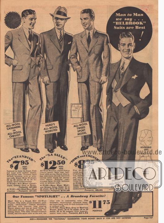 """Herrenanzüge der Marke """"Belbrook"""" mit engen Taillen, breiten Schultern und weiten Hosenbeinen aus Woll-Kaschmire oder auch Woll-Flanell."""