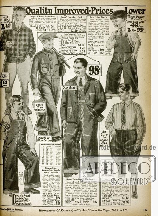 Overalls und Arbeitsjacken aus Khaki und Denim (Jeans) für Jungs und junge Männer sowie Kniebundhosen aus Kord und Khaki. Auch eine Lumber Jack Jacke (Holzfällerjacke) ist bestellbar (oben links).