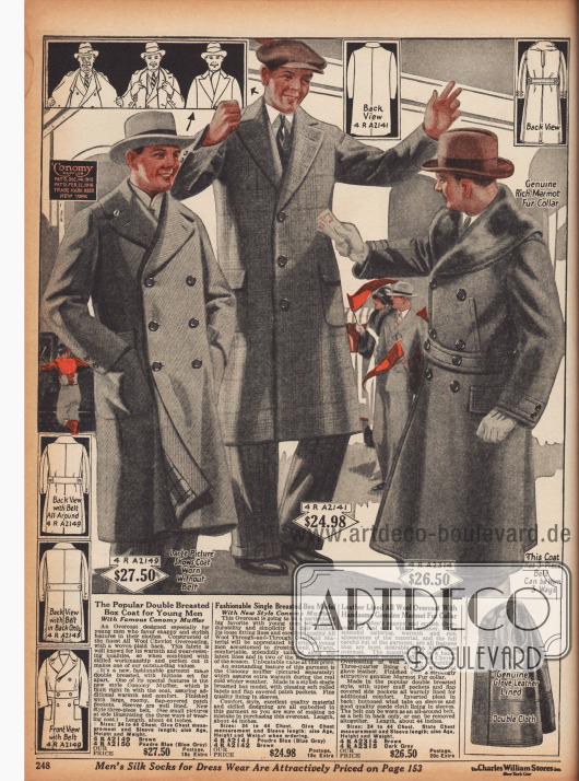 Drei Mäntel für junge Männer aus Woll-Cheviot mit einem eingearbeiteten Schal. Der rechte Ulstermantel mit Gürtel ist mit Murmeltierpelz besetzt.