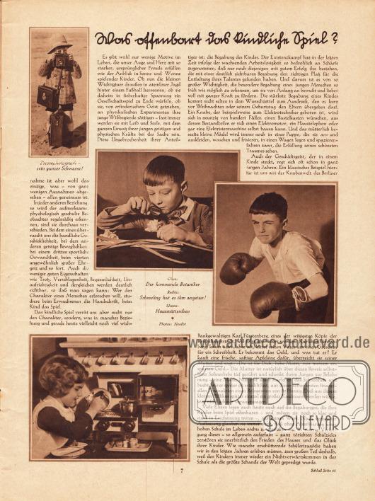 Artikel:O. V., Was offenbart das kindliche Spiel?Mit vier illustrierenden Bildern. Fotos: Neofot.