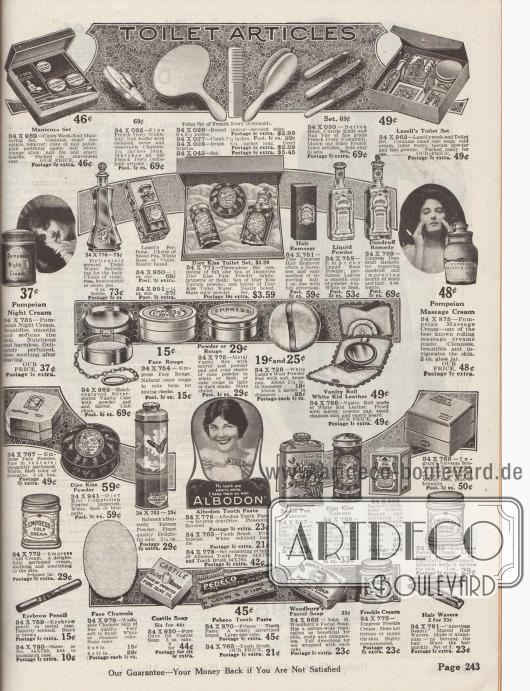 """""""Toilettenartikel"""" (engl. """"Toilet Articles""""). Produkte für Badezimmer und Schminktisch sowie Make-up bzw. Kosmetikartikel. Oben befindet sich ein Maniküre-Set mit Nagellack, Nagelpolitur und Nagelpfeilen der Marke Cutex, ein Toilettentisch-Set (Spiegel, Kamm, Bürste) aus Celluloid, Gesichtstücher, Seifen, Sommersprossen-Cremes, Zahncremes und -pasten sowie Haarwellen-Wickler aus Aluminium. Unter den Kosmetikartikeln befinden sich Nachtcremes, Toilettenwasser und Parfüms, Gesichtspuder, Talkumpuder, Haarentferner, Flüssigpuder, Anti-Schuppenmittel, Massagecremes, Puderdosen, Rouge, Puderquasten, Cold Creams, Peroxid-Creme und ein Augenbrauenstift. Die Toiletten-, Kosmetik- und Schminkartikel sind von den Herstellern und Marken Cutex, Lazell, Djer Kiss, Empress, Pompeian, Babcock's Butterfly, Albodon, Sweet Pea, Ingram, Castile, Pebeco und Woodbury. Produkte der Marke Djer Kiss sind Importware aus Europa."""