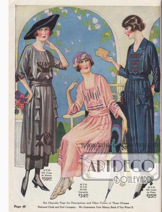 Teure Sommerkleider mit Stickereinen und halblangen Ärmeln. Die Kleider sind aus Seiden-Krepp de Meteor, Seiden-Georgette und aus Seiden-Crêpe de Chine.
