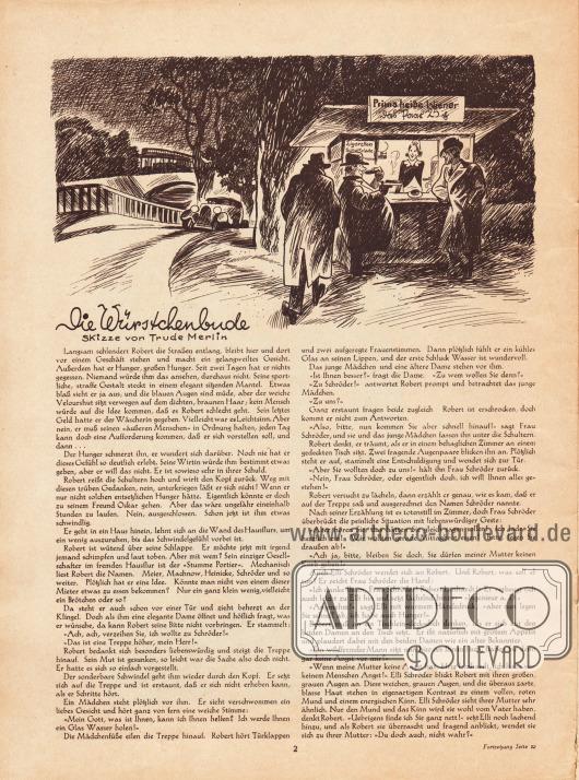 Artikel: O. V., Die Würstchenbude. Skizze: Trude Merlin.