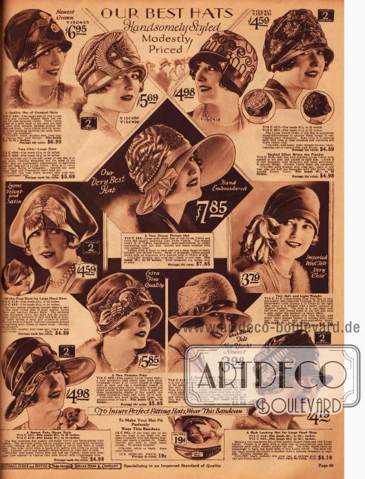 """Auswahl an modischen Tophüten mit aufwendigen Blumen- und Zierornamenten. Der Poke Bonnet Stil findet sich vor allem bei den breitkrempigen Hüten wieder. In der Mitte links zeigt sich Hut mit """"off-the-face"""" Effekt, der wie eine Krone geformt ist und speziell für Damen mit großem Kopfumfang gedacht ist. In der Mitte rechts präsentiert sich ein leichter Glockenhut aus Wollfilz mit einem seitlichen Pompon aus Federn."""