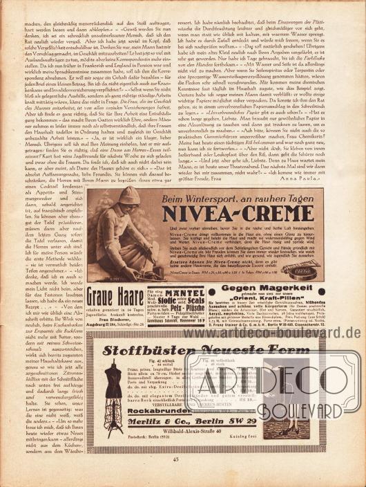 """Artikel:Paula, Anna, Liebe Freundin! Ich rate Ihnen… .Werbung:Nivea-Creme&#x3B;Auskunft gegen graue Haare, Frau Blocherer, Augsburg II/284, Schießgr.-Str. 24&#x3B;Samthaus Schmidt, Hannover 16 P&#x3B;Gegen Magerkeit """"Orient. Kraft-Pillen"""", D. Franz Steiner & Co. GmbH, Berlin W 30/469, Eisennacherstr. 16&#x3B;Stoffbüsten neueste Form, Merlitz & Co., Berlin SW 29, Willibald-Alexis-Straße 40."""