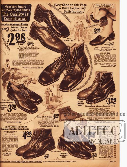 Elegante Herrenschuhe und Stiefeletten mit kantig geformten Spitzen, wahlweise in Schwarz oder Tan. Auch Gamaschen und Leder-Slipper sind von dieser Seite bestellbar.