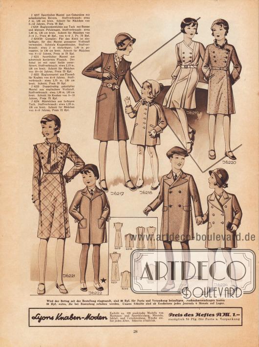 6217: Sportlicher Mantel aus Gabardine mit aufgeknöpften Revers. Schnitt für Mädchen von 8 bis 12 Jahren. 6218: Raglanmäntelchen aus Tuch mit Biesen und kleinem Pelzkragen. Schnitt für Mädchen von 2 bis 4 Jahre und von 4 bis 6 Jahre. 6219/20: Complet: Für das Kleid ist einfarbiger, für den Mantel genoppter Wollstoff verwendet. Schmale Kragenblenden. Schnitt für Mädchen von 8 bis 12 Jahren. 6221: Sportlicher Mantel aus schottisch kariertem Flausch. Der Schal ist mit roter Seide unterfüttert. Schnitt für Mädchen von 10 bis 14 Jahren. 6222: Raglanmantel aus Flausch für Knaben von 4 bis 8 Jahren. 6223: Doppelreihig geknöpfter Mantel aus englischem Wollstoff. Schnitt für Knaben von 6 bis 10 Jahren. 6224: Mäntelchen aus farbigem Tuch. Schnitt für Mädchen von 4 bis 8 Jahren.