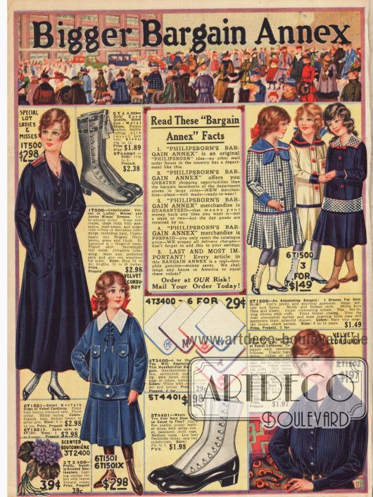 Die Erste von neun Seiten mit Sonderangeboten der Firma Philipsborns. Zu günstigen Preisen werden hier drei Mädchenkleider für 1,49 Dollar, Stiefel für Mädchen, bestickte Taschentücher, ein Kleid im Norfolk-Stil für junge Frauen und eine Bluse aus blauem Kordsamt angeboten.