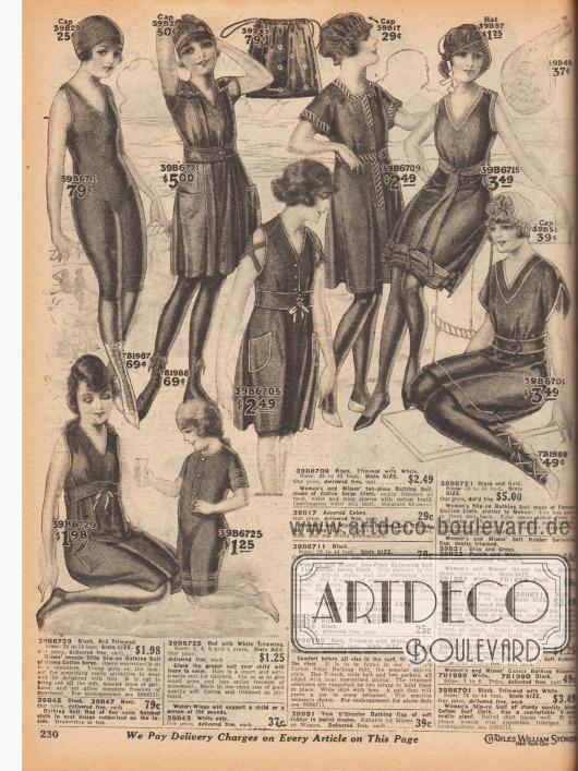 """Schwarze und marineblaue Badeanzüge und Badetrikots sowie passende Badehauben, Strandschuhe aus Kanevas und eine Badetasche für Frauen und Mädchen. Die ein- oder zweiteiligen Badeanzüge sind aus Baumwoll-Serge, Baumwoll-Jersey, """"Cotton Surf Cloth"""" (?) oder """"Panama Sicilian Cloth"""" (ähnlich Angorawolle). Viele Badeanzüge besitzen Taschen und Gürtel. Ziernähte, Borten und Paspeln werten die Modelle auf. Unter den kleidähnlichen Badeanzügen verbergen sich Schlupfhöschen. Der Saum der Badeanzüge und die Beine der darunter befindlichen Höschen sind Knie lang. Das Modell oben links (39B6711) wird unter einem der Schlupfbadeanzüge getragen."""