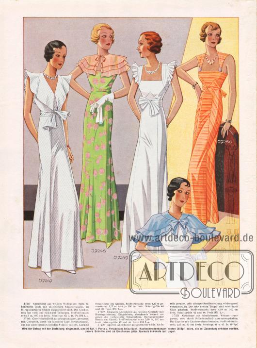 7247: Abendkleid aus weißem Waffelpikee. Spitz dékolletierte Taille mit abstehenden Schultervolants, die in raglanartigem Schnitt eingearbeitet sind. Der Glockenrock hat vorn und rückwärts Teilungen. 7248: Gesellschaftskleid aus grüngrundigem, gemustertem Georgette, durch ein lachsrosa Cape vervollständigt, das aus übereinanderliegenden Volants besteht. Einfache Schnittform des Kleides. 7249: Elegantes Abendkleid aus weißem Organdy mit Biesengarnierung. Eingefaltete, abstehende Volants ergeben die verbreiterte Schulterlinie. Harmonierender Besatz am Gürtel. 7250: Apartes Abendkleid aus gestreifter Seide, die in teils gerader, teils schräger Streifenstellung wirkungsvoll verarbeitet ist. Die sehr breiten Träger sind vorn durch Clips gehalten. 7251: Abendcape aus bleufarbenem Velours transparent, vorn durch Schleifenschluß zusammengehalten. Das Cape ist mit Glockenvolants berandet.