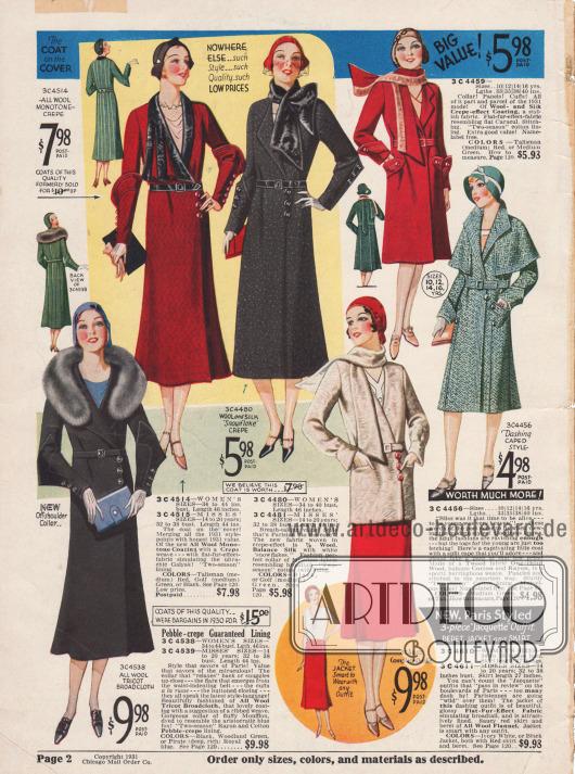 Damenmäntel für das Frühjahr und ein Ensemble mit kurzer Jacke und passendem rotem Barett.