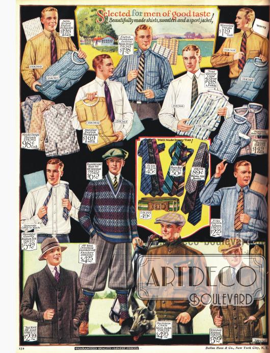 Hemden, Pullover und Jacken für den Sprot. Ein Golfensemble für den Mann mit Schiebermütze.