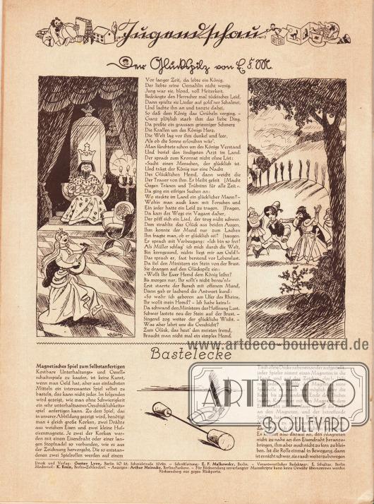 """Artikel (Jugendschau):E. F. M., Der Glückspilz&#x3B;O. V., Bastelecke (Magisches Spiel zum Selbstanfertigen).Zur kurzweiligen Kindergeschichte """"Der Glückspilz"""" gehören zwei flankierende Zeichnungen, die mit """"Kollatz"""" signiert sind.Impressum der Illustrierten Modenschau."""