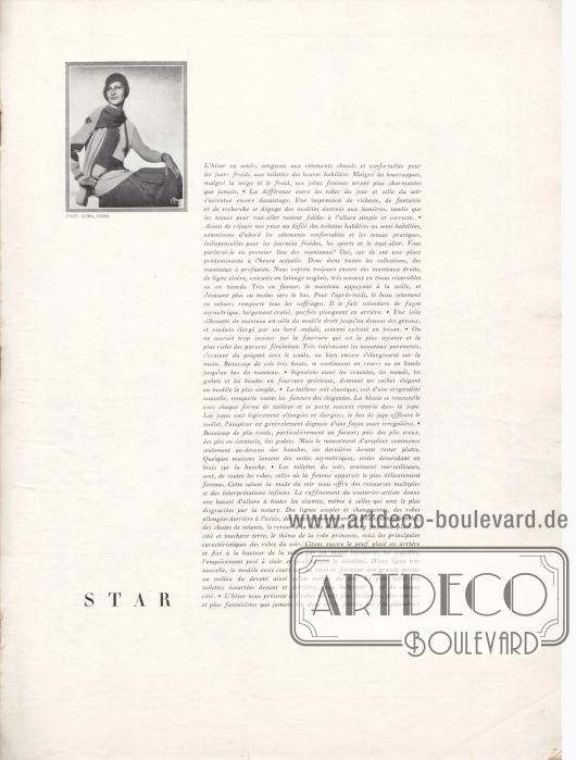 Artikel (Einleitungstext): O. V., ohne Titel.  Die kleine fotografische Abbildung oben links zeigt eine Frau in einem warmen Winterkleid (Pullover, Rock und langer Schal), beispielsweise für den Wintersport. Foto: Madame d'Ora (Dora Philippine Kallmus, 1881-1963), Paris.