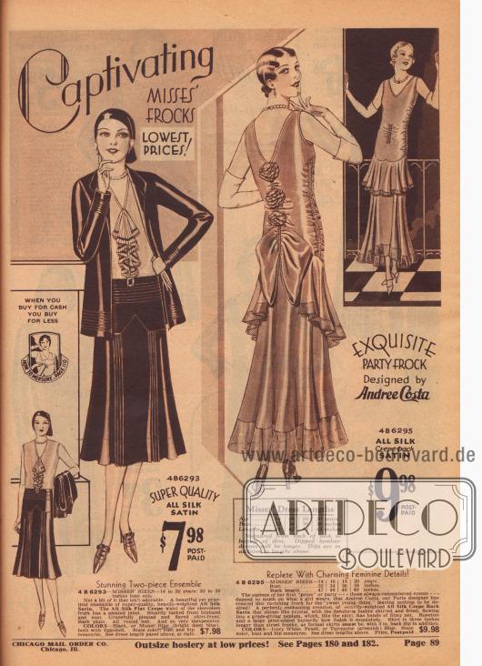 """Hinreißende KLEIDER für das FRÄULEIN. NIEDRIGSTE PREISE! Wenn Sie bar kaufen, kaufen Sie günstiger.  4 B 6293 – FRÄULEIN GRÖSSEN 14 bis 20 Jahre; 32 bis 38 Zoll Oberweite. Atemberaubendes zweiteiliges Ensemble. Kein Bisschen an diesem Kleid das nicht bezaubernd ist. Ein wunderschönes und doch praktisches Ensemble aus hochwertigem Seiden-Satin von schwerer Qualität. Die Taille der ärmellosen Bluse aus glattem Seiden-Krepp ist mit einem plissierten Jabot versehen. Raffiniert mit Biesen verzierte, vordere Hüftpasse und Jacke. Anmutig plissierter und seitlich glockig ausfallender Rock. Glatte Rückseite. Umlaufender Gürtel. Und so preiswert. FARBEN: Schwarz oder Monet Blau (leuchtendes Tiefblau), beides mit Eierschale. Farbe, Oberweite und Hüftumfang angeben. Siehe Kleiderlängen-Tabelle oben, rechts… 7,98 $.  Kleiderlängen für junge Frauen. Alter… 14, 16, 18, 20 Jahre. Oberweite… 32, 34, 36, 38 Zoll. Länge… 41, 42, 43, 43 Zoll. Gemessen vom Nacken bis zum Rocksaum. Kleider mit einseitig verlängertem oder zipfeligem Saum sind länger. Zipfel und einseitige Verlängerungen werden den oben genannten Längen hinzugerechnet.  ERLESENES TANZ- UND BALLKLEID – Entworfen von Andree Costa. 4 B 6295 – FRÄULEIN GRÖSSEN 14, 16, 18, 20 Jahre. Oberweite… 32, 34, 36, 38 Zoll. Rückenlänge… 47, 48, 49, 49 Zoll. Vollgepackt mit charmanten, femininen Details! Der Erfolg ihres ersten """"Abschlussballs"""" oder ihrer ersten Party – diesem Ereignis, an das man sich immer erinnert – hängen so sehr davon ab, was ein Mädchen trägt. Deshalb hat Andree Costa, unsere Pariser Designerin, dieses hinreißende Kleid für das """"süße junge Ding"""" entworfen, das keine Wünsche offenlässt! Eine ganz bezaubernde Kreation aus schwerem, kristallartig glänzendem, reinem Seiden-Krepp mit Satin-Rückseite. Das mit beidseitigen Reihziehungen und Stoffkräuselung taillierte miederartige Oberteil, dass in ein breites Volant-Schößchen übergeht und wie der Rock mit filigranem Netz versehen ist, machen diesen Kleid besonders anmutig."""