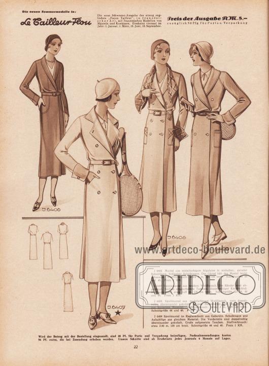 J 6906: Mantel aus mittelfarbigem Afgalaine in einfacher, gerader Schnittform. Schlanker Schalkragen. Der Gürtel hält den Mantel leicht gebauscht. Stoffverbrauch: etwa 3 m, 130 cm breit. Schnittgröße 44 und 48. Preis 1 RM. J 6407: Tennismantel aus weißem Wollflausch. Die Ränder sind abgesteppt. Seitlich eingearbeitete Taschen; doppelreihiger Knopfschluß. Stoffverbrauch: etwa 3,25 m, 130 cm breit. Schnittgröße 42, 44, 46 und 48. Preis 1 RM. J 6408: Sportmantel aus modefarbenem Wollflausch, vorn doppelreihig übereinander geknöpft. Kragen, Manschetten und Taschenpatten aus kariertem Material. Stoffverbrauch: etwa 3 m, 130 cm breit. Schnittgröße 44 und 48. Preis 1 RM. J 6409: Sportmantel im Raglanschnitt aus Gabardin [bzw. Gabardine, Anm. M. K.]. Schalkragen und Aufschläge aus gleichem Material. Die Vorderteile sind doppelreihig übereinander geknöpft. Große aufgesetzte Taschen. Stoffverbrauch: etwa 3,40 m, 130 cm breit. Schnittgröße 44 und 48. Preis 1 RM. [Seite] 22