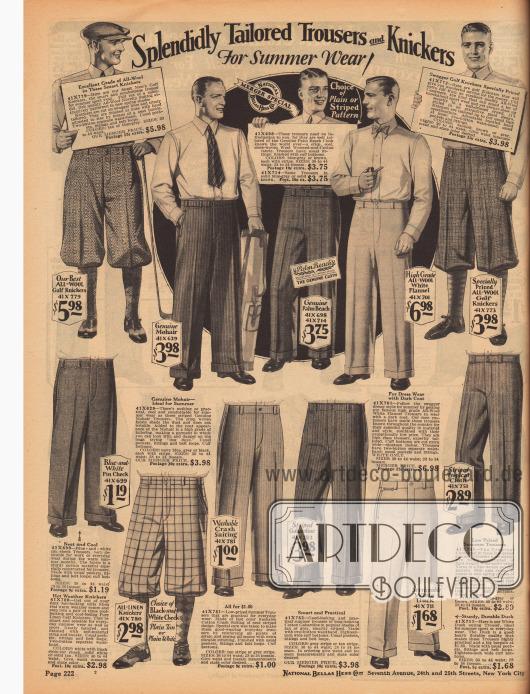 """Anzughosen, Hosen für die warmen Sommertage und kurz Sporthosen (Knickerbocker) aus Wollstoffen, Mohair, """"Palm Beach Cloth"""" (leichtes Mischgewebe aus Mohair und Baumwolle), Woll-Flanell, Leinen, leichtem Baumwollstoff, gestreiftem Gabardine und """"Tropical Cloth"""" (leichtes Woll-Baumwoll Mischgewebe)."""