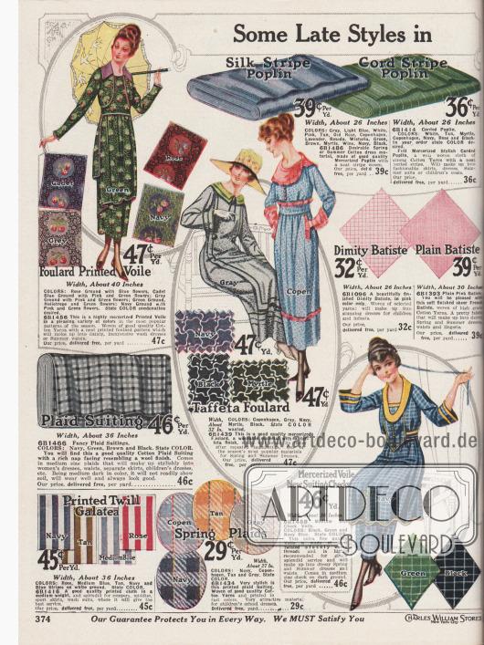 """""""Einige der neuesten sommerlichen Kleiderstoffe zum Nähen"""" (engl. """"Some Late Styles in [Summer Dress Goods]""""). Einfach und schick bedruckte, gemusterte und gewebte, leichte Kleiderstoffe für den Sommer. Im Angebot sind bunt bedruckter Foulard-Voile (Schleierstoff), Baumwoll-Popeline mit Seidenstreifen, merzerisiertes Baumwoll-Popeline, karierter Baumwoll-Anzugstoff, Taft-Foulard, Dimity-Batist (Barchent), französischer Batist, bedrucktes Galatea, merzerisierter und karierter Schleierstoff und andere bedruckte Baumwollgewebe. Die Preise beziehen sich auf einen Yard (91,44 cm) und die Breite der angebotenen Gewebe variiert von 26 bis 40 Inch (66,04 und 101,6 cm)."""