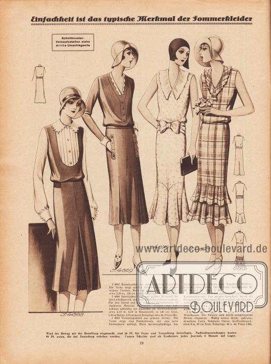 """""""Einfachheit ist das typische Merkmal der Sommerkleider"""". 4868: Sportliches Kleid aus gelbem Wollstoff für den Leibchenrock, den eine weiße Batistbluse ergänzt. Für den Gürtel und den vorderen Falteneinsatz ist dunkleres Material verwendet. Kragen und Aufschläge schließen mit Zäckchen ab. 4869: Vormittagskleid aus grünem Jersey. Die Taille zeigt eine Pattenblende, der eine helle Zackenborte aufliegt. Helle Ärmelaufschläge. Am Rock eingesetzte Falten und Taschen. 4870: Sommerkleid aus pastellfarben gemustertem Kunstseidenvoile. Den spitzen Ausschnitt betont ein Plisseevolant. Den engen Rock ergänzt ein Glockenvolant; vorn Gegenfalte. Gürtel mit Schleife. 4871: Flottes Kleid aus blau-weiß karierter Waschseide. Die Volants sind durch ausspringende Biesen eingeengt. Mäßig weiter Rock, gebluste, ärmellose Taille. Schmaler Gürtel."""