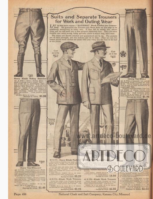 """""""Anzüge und separate Hosen für Arbeits- und Ausflugskleidung"""" (engl. """"Suits and Separate Trousers for Work and Outing Wear""""). Sport-, Freizeit- und Arbeitshosen aus Khaki und schwerem Whipcord sowie zwei Arbeitsanzüge aus Baumwoll-Khaki. Die beiden Anzüge bestehen aus einer Norfolk-Jacke, erkennbar an dem festvernähten Gürtel und den übergreifenden Blenden, einer Jacke mit vier aufgesetzten Taschen und passenden Hosen. Die Anzüge sind auch bestens geeignet für Autospitztouren, Landaufenthalte und Exkursionen. Oben links eine Reiterhose (""""Breeches"""") für Herren."""