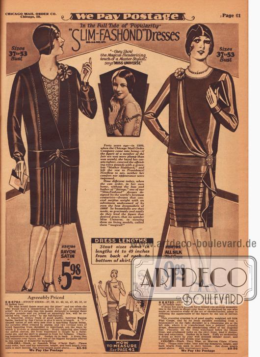 """""""An der Spitze der Popularität 'Slim-Fashond' Kleider. 'Sie zeigen die magisch verschlankende Hand eines Meisterdesigners' sagt 'Miss Universe' [1928, Ella van Hueson]"""" (engl. """"In the Full Tide of Popularity 'Slim-Fashond' [Reg. U. S. Pat. Off.] Dresses. '[T]hey Show the Magical Slenderizing touch of a Master Stylist' says 'Miss Universe'""""). Zwei elegante Tages- oder Nachmittagskleider aus Rayon-Satin oder Seiden-Krepp für Damen mit stärkerer Figur. Ein V-förmiger Westeneinsatz aus Écruspitze ziert das erste Kleid. Horizontale Paspeln erzeugen den Eindruck eines Blusenkleides. Kleid zudem mit vertikalen Borten und plissierter Rockfront. Das zweite Kleid präsentiert haarfeine Biesen am Gürtelband sowie breiter werdende Biesen am Rock. Ein Stoffteil ist diagonal von der Schulter zur Hüfte drapiert und fällt unterhalb einer Brosche wasserfallartig bis zum Saum."""