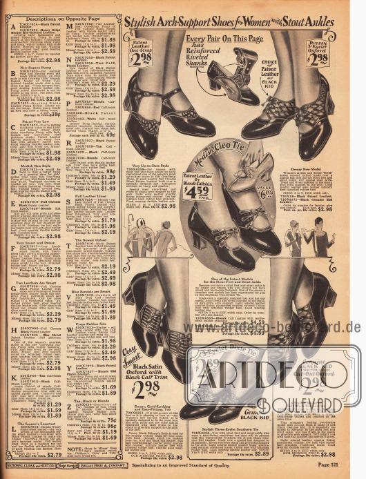 """Pumps, Schnallenschuhe und Oxfords für Damen mit """"breitem Fuß"""" (engl. """"Stout Ankles""""). Alle hier gezeigten Schuhe weisen eine Sohlenverstärkung mit vernieteter Spange in der Sohle auf (siehe oben im Bild). Die Schuhe selbst sind aus Lackleder, Chevreauleder oder Satin und besitzen alle relativ niedrige Absätze."""