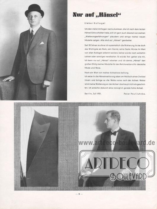 """Artikel:Juhnke, Peter Paul, Nur auf """"Hänsel"""".Die Fotografie oben links zeigt einen eleganten Anzug für den Herrn mit zwei Knöpfen und abfallenden Klappen. Unten rechts zeigt sich ein Smoking. Links daneben ein Foto-Ausschnitt mit einem mit glänzender Seide besetzten Smokingrevers."""