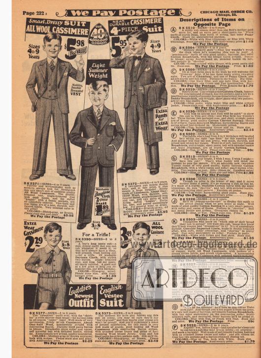 """Kleidsame Sonntags- und Schulanzüge aus Woll-Kaschmir oder """"Daytona Cloth"""" (leichter Sommerstoff) mit langen Hosenbeinen für 3 bis 9-jährige Jungen. Die Sakkos sind einreihig, wobei eine der Westen zweireihig gehalten ist. Während der Sommeranzug zweiteilig ist, ist das Modell oben rechts vierteilig und wird mit einer Wechselhose geliefert. Unten zwei Spielanzüge für 3 bis 8-jährige Jungen mit kurzen Hosenbeinen. Beide Anzüge sind aus Woll-Kaschmir."""