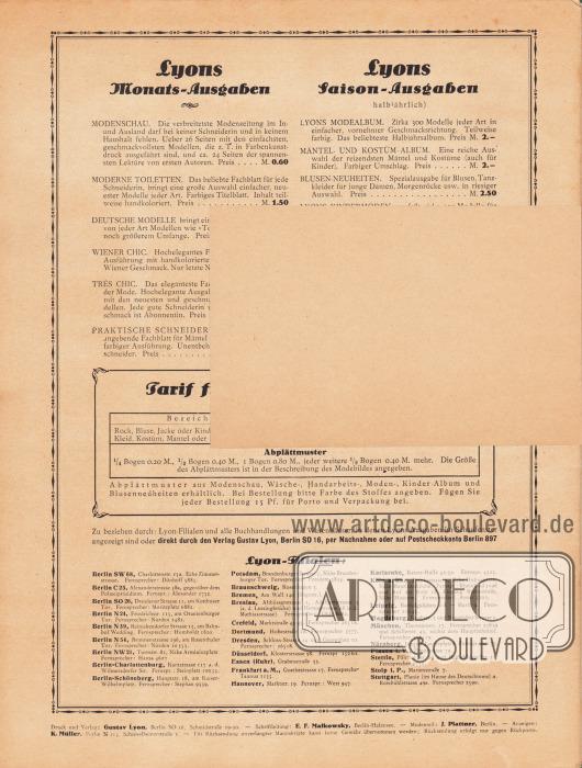 Lose Beilage in der Zeitschrift:Rückseite der Postkarte (Maße: 14,5 x 9,5 cm / 5,71 x 3,54 in) zum Bestellen von Schnittmustern.