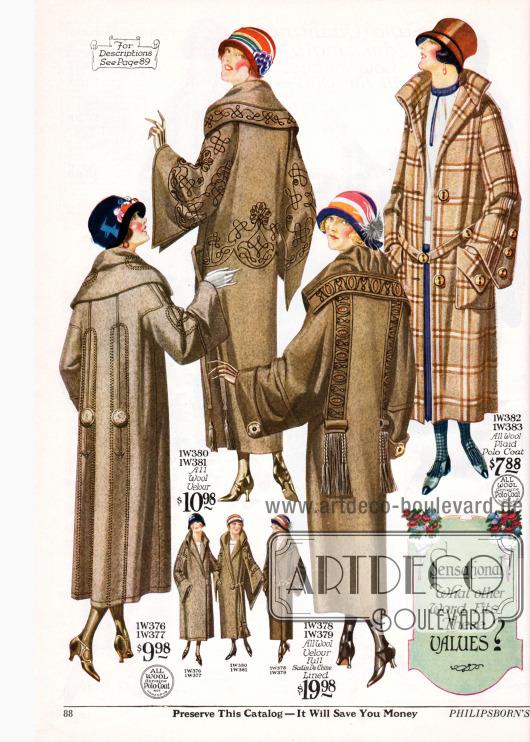 Damenmäntel aus Woll-Polostoff und Woll-Velours mit teilweise großzügigen Stickereien werden auf dieser Seite gezeigt. Auch hier zeigen sich weite Schnitte, sehr weite Ärmel und große überlappende Kragen.
