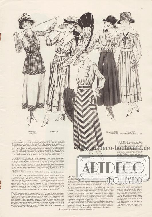 """9227 & 9318: Zweiteiliges Kleid bestehend aus Bluse und Rock. Das Kleid kann aus kariertem Gingham und unifarbenem Chambray kombiniert werden. Ärmel aus leichtem Material. 9357: Legeres, sommerliches Mantelkleid mit weißem, spitz zulaufendem Kragen, aufgesetzten Taschen und langem Gürtelband. Als Stoff wird Flanell empfohlen. 9207 & 9352: Kombination aus Rock und Bluse. Die Bluse aus Satin besitzt einen Matrosenkragen und eine bogige seitlich versetzte Knöpfung. Dem Rock aus großgestreiftem Satin sind zwei Taschen aufgesetzt. 9356 & 9358: Kombination bestehend aus Rock und Bluse. Die Bluse aus Crêpe de Chine zeigt ein Jabot mit Knopfleiste, einen schwarzen Stehkragen und enge Manschetten. Der Rock aus derbem Baumwolltuch besteht aus vier Teilen, wobei die Taschen fantasievoll aus zwei langen Stoffteilen geformt werden. 9359 & 10621: Elegantes Mantelkleid mit Stickereien, kleinen aufgesetzten Taschen, breitem Kragen, schwarzer Ausschnittschleife und abgenähten Säumchen ausgehend von beiden Schultern. Der Rock ist von der Taille abwärts plissiert und geht dann über in weiche Falten. Zur Herstellung des Kleides eignen sich Kreppstoffe aller Art, feine und leichte Wollstoffe, """"surah"""" (?), Foulard sowie Tussor und andere ähnliche Seidenstoffe. Für den weißen Kragen eignen sich Seide, Flanell, Linon, Musseline-Georgette Krepp oder Organdy."""