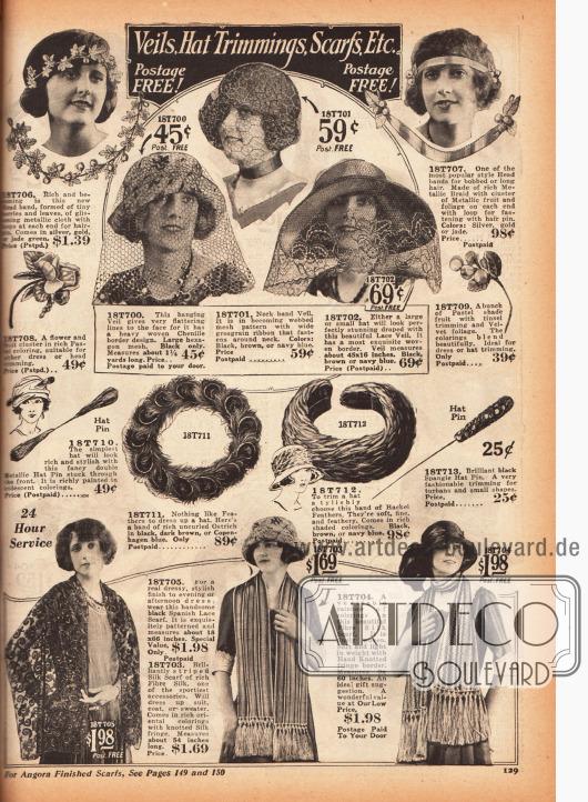 Modische Schleier, Kopfbänder und Verzierungen für Hüte wie Straußenfedern, Nadeln, Blüten und Blättern.