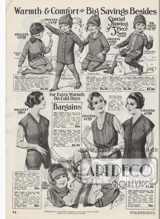 """""""Wärme & Komfort – Nebenbei große Ersparnis"""" (engl. """"Warmth & Comfort – Big Savings Besides""""). Zwei- und dreiteilige Stickanzüge bestehend aus Strickjacke bzw. Pullover, Leggins und Mütze für 1 bis 6-jährige Kinder oben sowie gestrickte, ärmellose Pullover oder Stickwesten bzw. Strickjacken (Cardigans) und Mützen-Schal-Kombinationen für Damen und junge Frauen unten. Die Stricksachen sind aus Baumwollgarnen, Wolle oder Baumwoll-Woll-Mischgeweben hergestellt."""