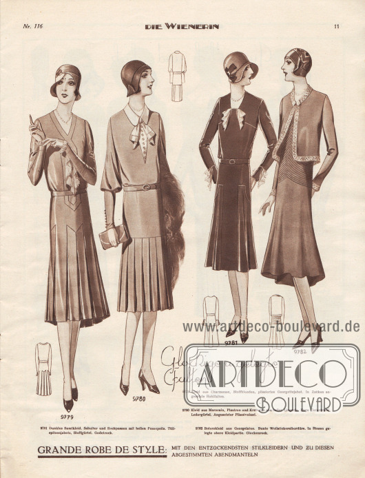 """""""Glockige u. gelegte Falten"""". 9779: Kleid aus Charmeuse, Stoffblenden, plissiertes Georgettejabot. In Zacken angesetzte Hohlfalten. 9780: Kleid aus Marocain, Plastron und Krawatte aus heller Lingerie. Enge Unterärmel, Ledergürtel. Angesetzter Plissévolant. 9781: Dunkles Samtkleid. Schulter und Rockpassen mit hellen Passepoils. Tüllspitzenjabots, Stoffgürtel. Godetrock. 9782: Bolerokleid aus Georgelaine. Bunte Wollstickereibordüre. In Biesen gelegte obere Kleidpartie. Glockenrock."""
