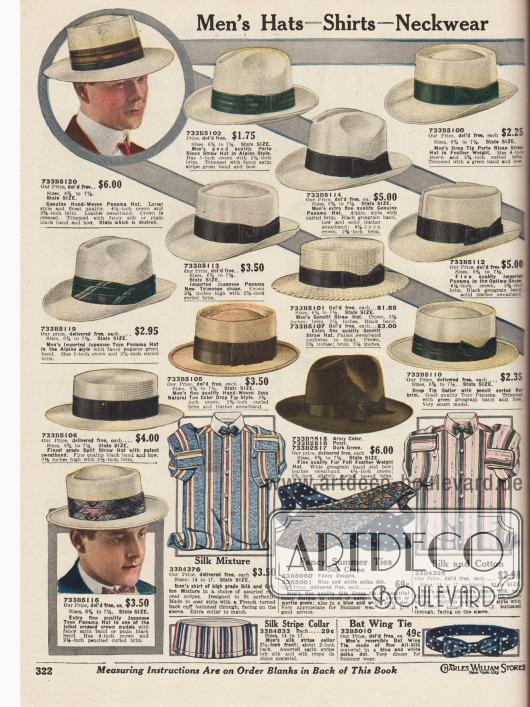 """""""Herrenhüte – Hemden – Krawatten"""" (engl. """"Men's Hats – Shirts – Neckwear""""). Ungefütterte, leichte Sommerhüte aus Panama Stroh, Stroh aus Puerto Rico und Japan, Java Stroh, """"Sennitt Straw"""" und """"Split Straw"""" sowie ein Hut aus Filz. Alle Modelle sind mit Ripsband und dezenter Schleife für Männer hergestellt. Die speziellen Hutformen sind: """"Alpine Style"""" (beidseitig im Kopf eingedrückt mit Falte dazwischen) """"Boater"""" (sogenannte """"Kreissäge"""", glatter Kopf mit Kante), """"Telescope"""" (Hut mit tiefer, runder Falte um den Rand und mittiger Erhebung sowie heruntergebogene Krempe vorne und hochgebogener Krempe hinten), """"Toyo Panama"""" (Hut mit Falte von vorn bis hinten) sowie """"Optimo Shape"""" (glatter Kopf mit Kante und scharfer Kante quer über den Kopf). Unten befinden sich zwei Hemden, zwei Krawatten, eine Fliege und ein bunter Kragen."""