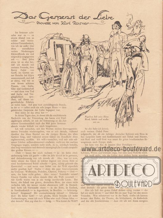 """Artikel (Novelle): Rosner, Karl, Das Gespenst der Liebe. Die Novelle ist durch eine Zeichnung ergänzt mit der Bildunterschrift """"Napoleon hob seine kleine Hand, lächelte und winkte mir zu."""" Zeichnung/Illustration: """"k"""" (Kretschmann)."""