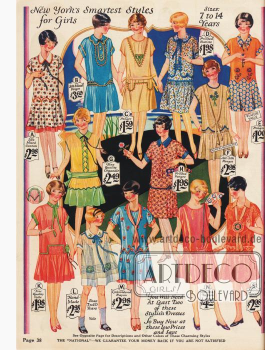 Kleidchen für 7 bis 14-jährige Mädchen die dem Flapper-Stil der Großen nachempfunden sind.