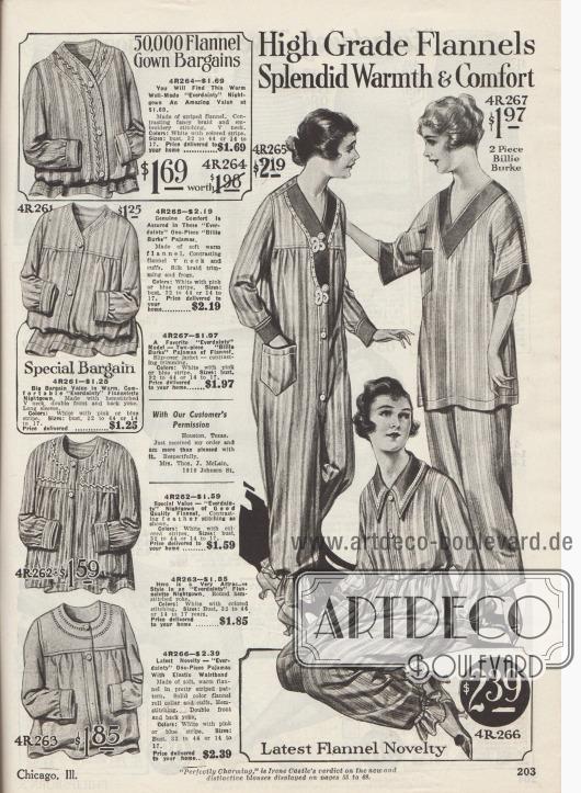 """""""Hochwertige Flanellgewebe – Herrliche Wärme & Komfort"""" (engl. """"High Grade Flannels – Splendid Warmth & Comfort""""). Nachtgewänder und lange Nachthemden (links) sowie ein- und zweiteilige Pyjamas (rechts) aus gestreiften Flanellstoffen der US-Marke Everdainty. Die Nachthemden sind versehen mit zurückhaltenden Stickereien oder Hohlnähten. Die """"Billie Burke"""" Pyjamas, die durch die US-Filmschauspielerin Billie Burke (1884-1970) 1917 populär wurden, sind entweder einteilig mit Frontknopfleiste oder bestehen aus Hemd und Nachthose. Die einteiligen Pyjamas sind an den Knöcheln mit Gummizug zusammengefasst, das linke Modell ist mit Posamenten ausgestattet."""