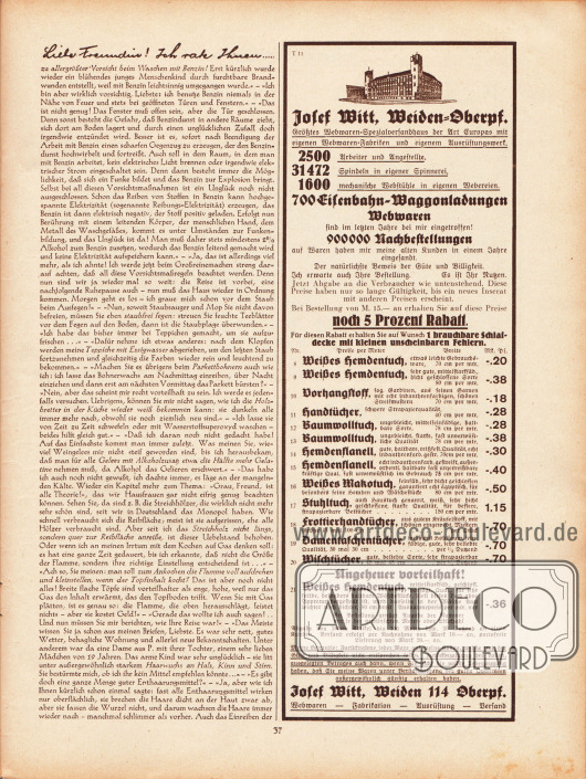 Artikel: Paula, Anna, Liebe Freundin! Ich rate Ihnen... . Werbung: Josef Witt, Weiden 114 Oberpfalz.