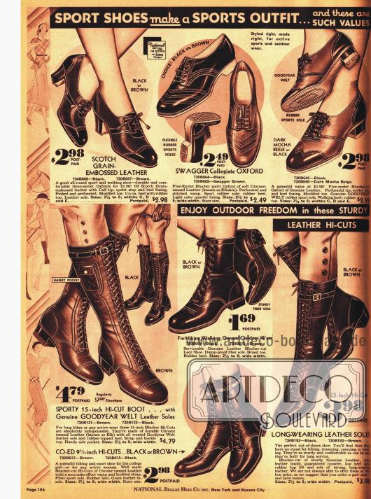 Sportschuhe und Stiefel für Damen.