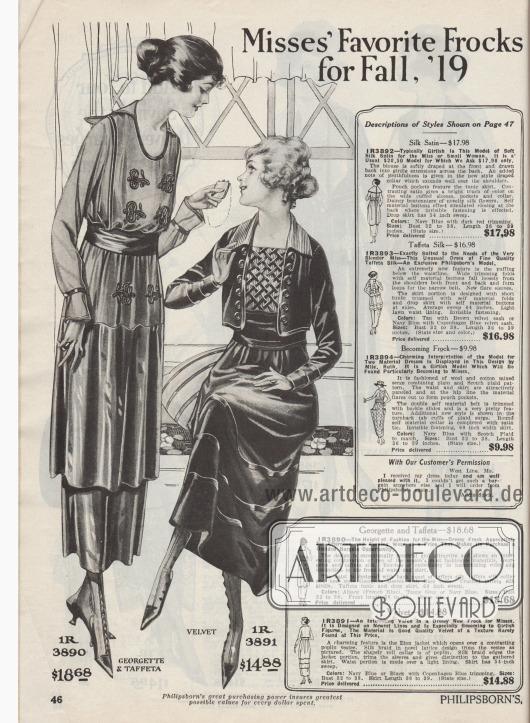 """""""Beliebteste Kleider für junge Frauen für Herbst 1919"""" (engl. """"Misses' Favorite Frocks for Fall, '19""""). Zwei elegante Nachmittagskleider aus Georgette mit Taft kombiniert oder Samt für junge Frauen von 16 bis 20 Jahren. Das erste Modell ist ebenso für den Nachmittag als auch für den Abend nutzbar. Brust und Schoß sind mit dezenter und farblich abgestimmter Stickerei belebt. Ein Gürtelband aus Taft fasst das Kleid und die darüber liegende Tunika zusammen. Die charmante Besonderheit des zweiten Modells ist das boleroartige Eton Jäckchen, das sich über einem kontrastierenden Popeline Einsatz öffnet. Gitterartig verarbeitete Seidenborte bedeckt die Weste. Kragen ebenfalls aus Popeline. Einfassborte aus Seide berandet das Jäckchen und Seidentresse belebt Rock und Manschetten."""