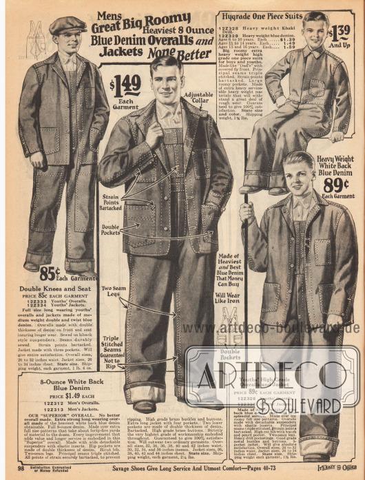 Arbeitskleidung für Männer, junge Männer und Jungen von 6 bis 16 Jahren. Angeboten werden hier Overalls und Jacken aus Indigo blauem Denim (Jeansstoff) und Khakigewebe in schweren Qualitäten. Verstärkte Nähte gewährleisten Belastungsfähigkeit und Langlebigkeit der Arbeitskleidung. Taschen und Brusttaschen für den praktischen Nutzen.