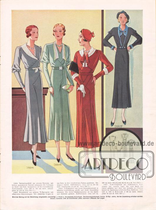Von links nach rechts: Nachmittagskleid aus Marocain, Besuchskleid aus Wollgeorgette, Frühjahrskleid aus Diagonalwollstoff mit Gehfalten erweitert und ein Nachmittagsleid aus Wollromain.