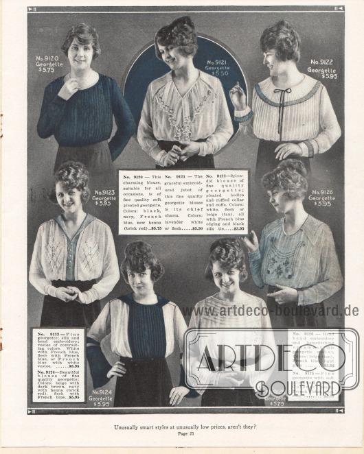 Höchst unterschiedlich gearbeitete Damenblusen aus Georgette mit Biesen, kleinen Perlen- oder Seidenstickereien. Einzelne Blusen sind teilweise oder ganz aus Plisseestoff gearbeitet.