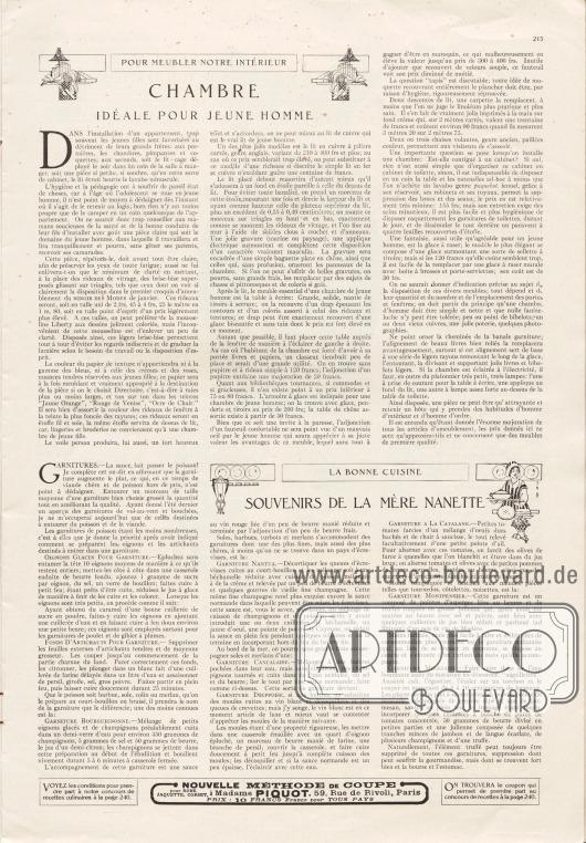 Artikel:O. V., Chambre idéale pour jeune homme (Pour meubler notre intérieur)&#x3B;O. V., Souvenirs de la mère nanette (La bonne cuisine).Werbung:Nouvelle méthode de coupe à Madame Piquot, 59, Rue de Rivoli, Paris.