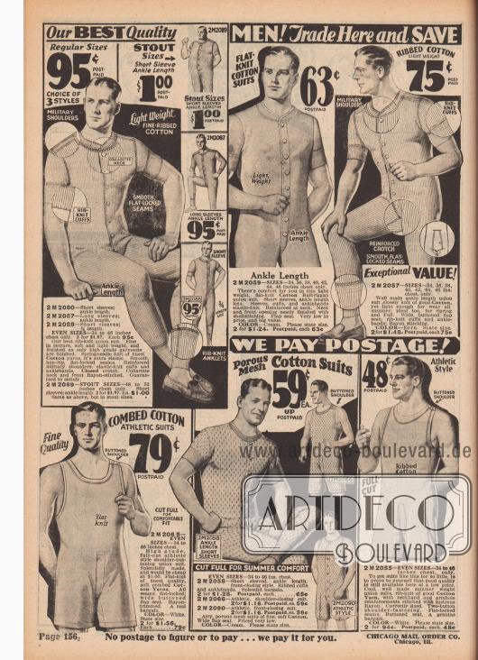 """""""Männer! Kaufen Sie hier und sparen Sie bei feiner Qualitätsunterwäsche"""" (engl. """"Men! Trade Here and Save [on Fine Quality Underwear]""""). Herrenunterwäsche. Hemdhosen mit kurzen Ärmeln und langen Beinen sowie ärmellose Hemdhosen mit kurzen Beinen (Unterhemden mit angeschnittener Unterhose) aus sommerlich leichten, gerippten Baumwollgarnen, Kamm-Baumwolle oder importiertem Balbriggan-Baumwollstoff (Ort in Irland). Hemdhosen mit Knopfleisten in der Front oder Schulter-Knöpfen sowie mit praktischem Klappsitz in der Rückseite."""