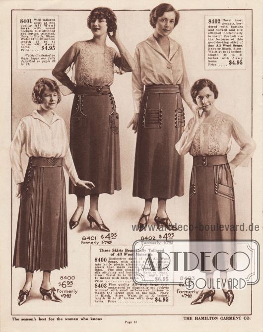 Diese Röcke sind wunderschön geschneidert aus reinen Wollstoffen. 8400: Ausgefallener Rock aus feinem, reinem Woll-Serge, reichlich weit im Schnitt. Der Stoff ist in Messer-Plisseefalten gelegt, die sich mit Kellerfalten abwechseln, die die hintere, vordere und seitliche Mitte markieren. Die Seitenfalten sind mit Seidenstickerei und Knöpfen besetzt. Marineblau oder Schwarz. Größen: Taille 24 bis 32 Zoll; Länge 36 bis 41 Zoll mit tiefen Säumen. Ehemals 9,95 $. Preis… 6,95 $. 8401: Gut geschnittener Rock aus reiner, feiner Woll-Serge Qualität mit runden Taschen sowie mit Seidenstickerei und Knopfleisten versehen. Marineblau oder Schwarz. Größen: Taille 24 bis 32 Zoll; Länge 36 bis 41 Zoll mit tiefen Säumen. Früher 7,95 $. Preis… 4,95 $. 8402: Neuartige eingesetzte Taschen, von Knöpfen flankiert und mit Seide horizontal passend zum Gürtel abgesteppt – das sind die Merkmale dieses gutaussehenden Rockes aus feinem, reinem Woll-Serge. Marineblau oder Schwarz. Größen: Taille 24 bis 32 Zoll; Länge 36 bis 41 Zoll mit tiefen Säumen. Früher 7,95 $. Preis… 4,95 $. 8403: Feiner Rock aus Woll-Serge mit schräg eingesetzten Taschen, die mit kleinen, mit Rockstoff bezogenen Knöpfen verziert sind, die zu den großen Knöpfen am Gürtel passen. Marineblau oder Schwarz. Größen: Taille 24 bis 32 Zoll; Länge 36 bis 41 Zoll mit tiefen Säumen. Ehemals 7,95 $. Preis… 4,95 $.  Die auf diesen Seiten abgebildeten Blusen sind auf den Seiten 20 bis 23 ausführlich beschrieben.  THE HAMILTON GARMENT CO. Das Beste der Saison für die Frau, die Bescheid weiß. Seite 32