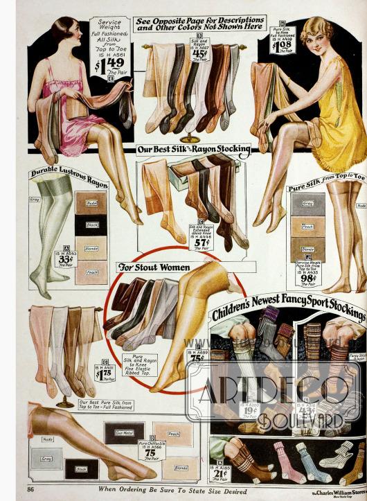 Seidenstrümpfe und Rayonstrümpfe in verschiedenen hellen und dunklen Farbvarianten für Frauen und Socken aus Baumwolle und Baumwoll-Rayon für Kinder.