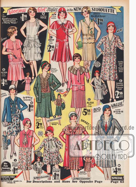"""""""'Glorious Girl' Mode in der neuen Modelinie"""" (engl. """"'Glorious Girl' Styles in the New Silhouette""""). Party- und Tanzkleider aus Seiden-Krepp oder Chiffon-Voile mit Volants, Spitze und Schultercapes für 7- bis 14-jährige Mädchen (A, B), fünf Ensembles aus waffel- und korbartig gemustertem Stoff, Baumwoll-Tweed mit einer Rayon-Bluse, Baumwoll-Leinen, breit geripptem Pikee sowie Rayon-Krepp (E, F, H, K, L), zwei Sommerkleider aus importierter Japanseide oder unifarbenem und gemustertem Pikee (D, J), zwei elegante Kleider aus Rayon-Krepp oder Seiden-Krepp (C, G) sowie ein Baumwoll-Tweed-Mantel mit Wollanteil (M) für Mädchen im Alter von 7 bis 14 Jahren (ein Ensemble für 2 bis 6-jährige Mädchen)."""